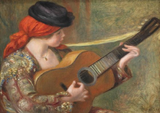 Renoir, Pierre Auguste: Young Spanish Woman with a Guitar. Fine Art Print/Poster. Sizes: A4/A3/A2/A1 (004280)